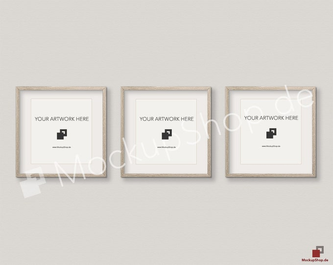 Set of 3 SQUARE MOCKUP FRAME on beige wall, Frame Mockup, Amazing brown photo frame mockup, Digital Download Square Frame Mockup