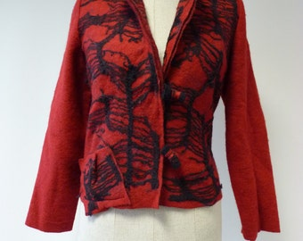 Handmade red short felted jacket, M size.