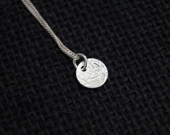 Sterling Silver Necklace with embossed Sterling Silver disc - Minimalist Jewelry - Silver Pendant - Dot Pendant - Handmade - Mint & Vintage