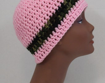 Pink and Camo Crochet Beanie Hat