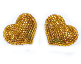 2 pcs Set Refrigerator magnets - Gold - Handmade Fully Rhinestones Blinged Out Heart  - Rhinestone Bling Bling Unique Gifts Idea