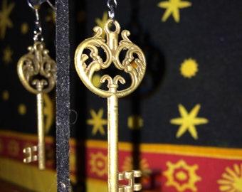 Gold Antique Key Earrings