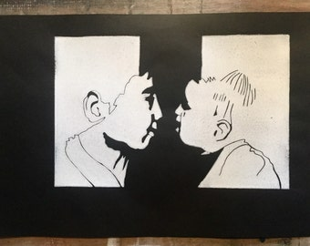 Relief print-Face to face-original limited edition hand pulled linocut print-black and white print-portrait of a boy and a girl.
