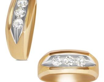 3/4CT Diamond 3 Stone Gents Ring 14k Y/Gold w/ J-Back
