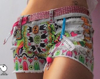 groovy hippie shorts. recycled denim custom made for you by artfink.