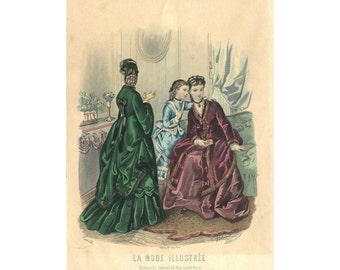 Hand Colored French Lithographic Print,  Mode de Paris, La Mode Illustrée, 1870 1890