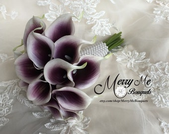 True Touch Picasso Lily Bouquet , Real Touch Calla Lily Bouquet , Picasso Lily Bouquet , Purple and White Calla Lilies , Eggplant Bouquet