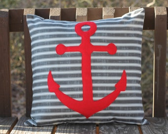Anchors away appliqued pillow cover