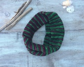 Not Just for Christmas Knit Infinity Scarf, Hand Knit Cowl Scarf
