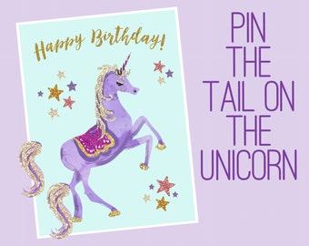 This is a picture of Fan Pin the Tail on the Unicorn Printable