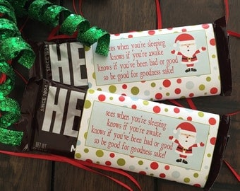 Christmas Candy Bar Wrapper. Fits Hershey's Bars. He Knows If You've Been Bad Or Good. Instant Digital Download