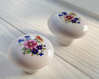 Flower Ceramic KnobsKnobs Dresser knobs cabinet Dresser Knobs pull