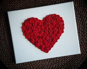 Valentines Day Button Heart, Button Art, Valentines Day Decor, Home Decor, Heart Decor, Red Heart, Button Heart