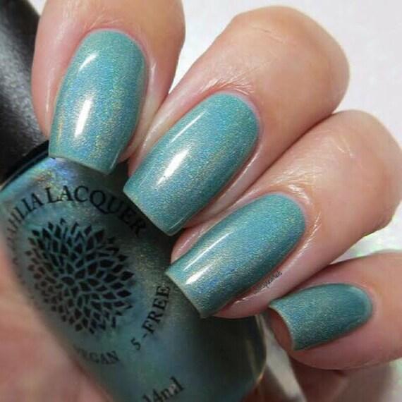 Neon Turquoise Jelly Holo Nail Polish Black Dahlia Lacquer