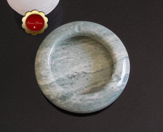 Round Green Marble : Mint green white marble ashtray round stone