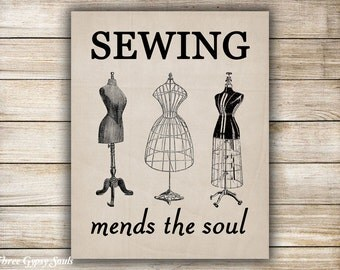 PRINTABLE ART Sewing Mends the Soul Wall Art Sewing Wall Decor Seamstress Gift Sewing Wall Art Sewing Room Decor
