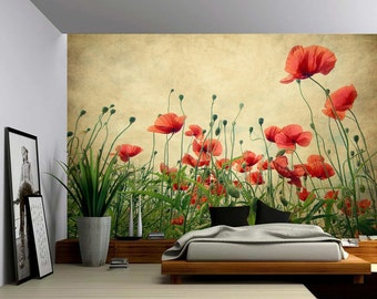 Red Poppies - Large Wall Mural, Self-adhesive Vinyl Wallpaper, Peel & Stick fabric wall decal