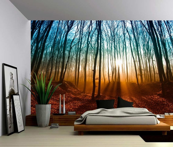 Autumn magical forest large wall mural self adhesive vinyl for Autumn forest wall mural
