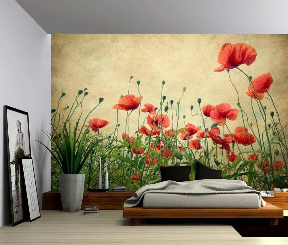 Red Poppies Large Wall Mural Self Adhesive Vinyl Wallpaper
