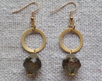 Czech Glass and Gold Drop Earrings