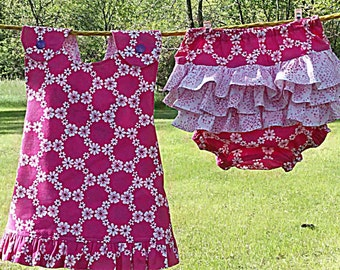 Reversible Infants Bright Pink A-Line Sundress With Ruffled Diaper Cover/Bloomers