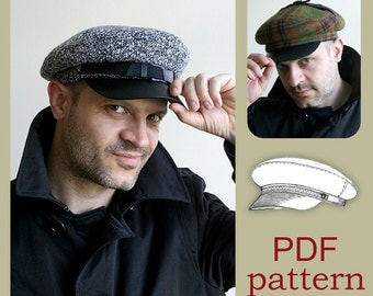 Fiddler/Fisherman Hat PDF Sewing Pattern /  S, M, L  sizes / DIY clothing/ Unisex Newsboy Cap sewing pattern/ Sewing Project