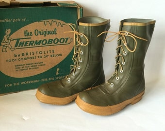 Thermoboots Waterproof Cold Weather Boots Vintage Mens Size 7 D Bristolite Rubber Boots Drab Green Lace Up Fishing Rain Ice Snow