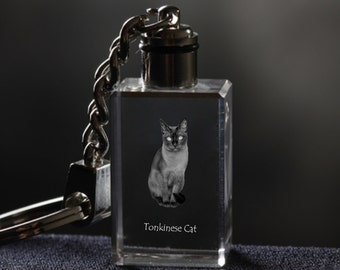 Tonkinese cat  , Cat Crystal Keyring, Keychain, High Quality, Exceptional Gift