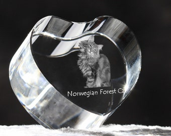 Norwegian Forest cat, crystal heart with cat, souvenir, decoration, limited edition, Collection