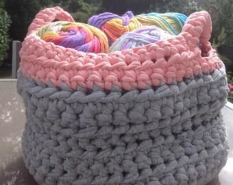 Upcycled t shirt yarn storage bag  grey and pink handmade crochet bag