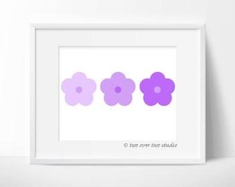 Purple Flowers Print: Minimalist Digital Printable Flower Art for Girl's Nursery Wall Decor, Baby Shower Gift and Birthday Invitations