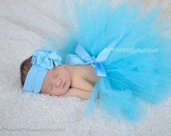 Light Blue Baby Tutu and Headband Set, Blue Baby Tutu, Tulle Tutu For Babies & Headband, Handmade Turquoise Elegant Blue Little Girl Tutu