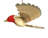Red Crested Cardinal Wood Carving, Carved Bird Hanging Mobile, Rustic Home Décor, Handmade Craft, Hand Painted Woodworking, Wooden Fan Bird