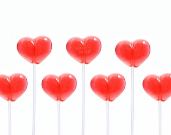 120 Handmade Red Heart Gourmet Candy Lollipops for Party Favors Valentines