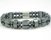 Magnetic Hematite  Double Bracelet with Magnetic clasp