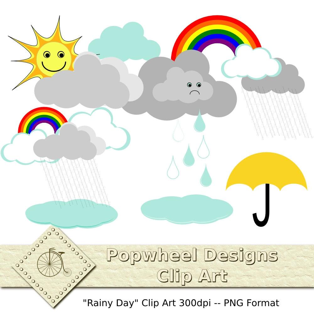 Rainy Day Clip Art: Rainy Day -- Clouds Umbrellas Rainbows -- Digital Clip Art