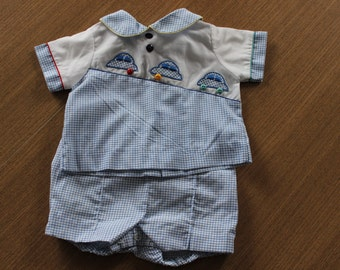 Cars gingham outfit shorts and shirt 0-3 months