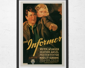 VINTAGE MOVIE POSTER - The Informer Movie Poster - John Ford Movie Poster, Classic Movie, Home Decor Wall Art