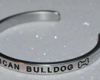 I Love My American Bulldog Handmade Cuff Bracelet