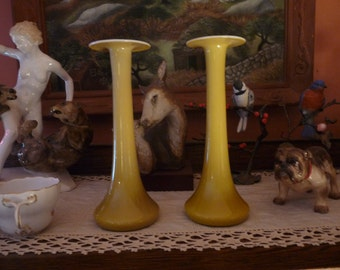 IMPERIAL GLASS 1920's Pair of Shape 319 Yellow Candlesticks w/ Stretch/Crizzle Orange Melted Wax Catcher Tops.. Free USA Shipping