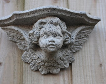 Angel Cherub,  Potted Plant Holder, Stone Shelf Wall Decor, Cornwall Stoneware, Garden, Patio,  Outdoors, Gift Idea