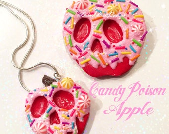 Snow White Candy Sprinkle Sprinkles Pink Glitter Poison Apple Brooch or Necklace