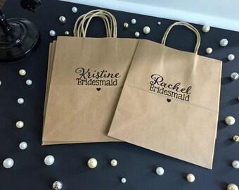 Set of 4 Bridal Party Gift Bags, Bridesmaid Gift, Wedding Party Gift, Thank You Gift Bag, Bridesmaid Gift Bag
