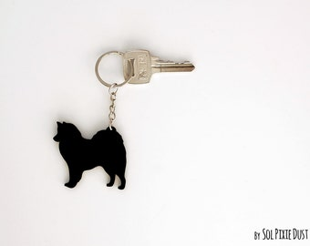 American Eskimo Dog Keychain Silhouette