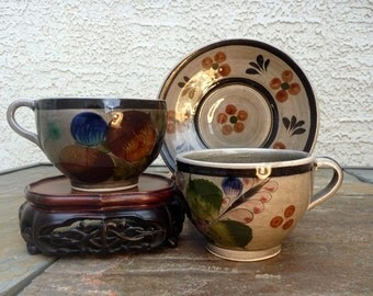 Hand-painted Mexican Talovera Cups with Saucer