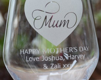 Mother's Day Personalised Wine Glasses - Etched