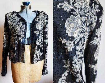 Medium -  Vintage Black Beaded Floral Cardigan