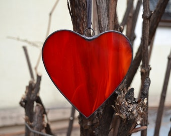 Red Heart, Red Heart Ornament, Stained Glass Heart, Romantic Valentines Day Gift, Heart Suncatcher, Love Heart Window Decoration, Wall Decor