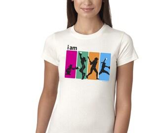 I Am Softball Juniors Longer Length T-Shirt White and Grey Softball Tee Shirt Top
