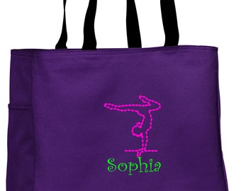 Personalized Tote Bag Embroidered Tote Bag Custom Tote Bag - Sports - Gymnastics - B0750